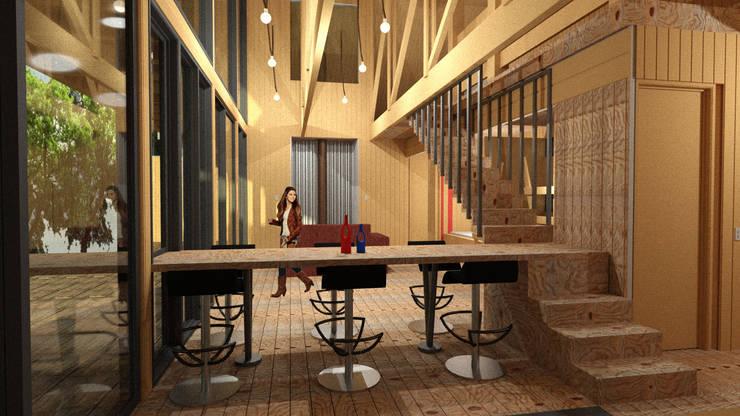 casa Quimera: Escaleras de estilo  por ARCHIMINIMAL ESTUDIO