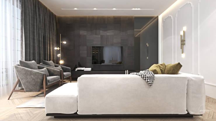Luksusowy apartament dla singla: styl , w kategorii Salon zaprojektowany przez Ambience. Interior Design