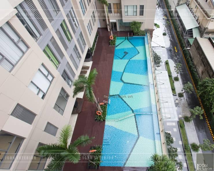 Toàn cảnh thực tế căn hộ THE TRESOR trong thiết kế nội thất Indochine:  Hồ bơi by ICON INTERIOR