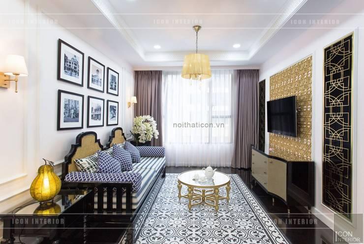 Toàn cảnh thực tế căn hộ THE TRESOR trong thiết kế nội thất Indochine:  Phòng khách by ICON INTERIOR
