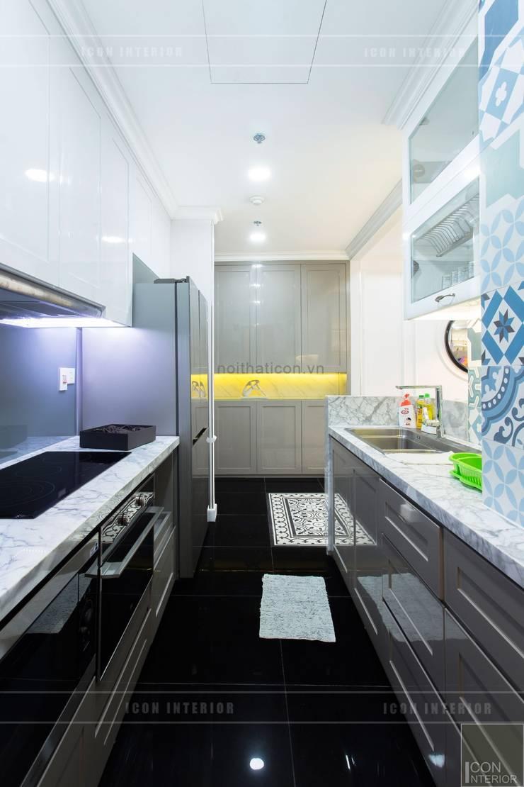 Toàn cảnh thực tế căn hộ THE TRESOR trong thiết kế nội thất Indochine:  Nhà bếp by ICON INTERIOR