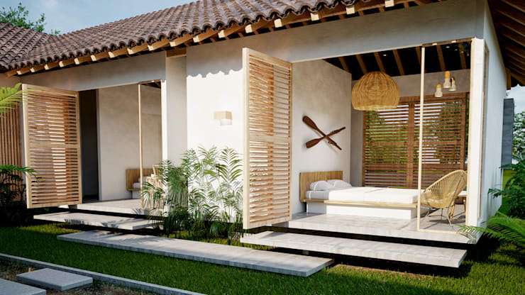 cuartos casa principal hotel miraflores: Hoteles de estilo  por Adrede Diseño