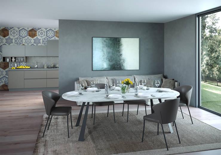 Tavolo CONVIVIO, sedia ANDRE' di Nespoli 3d Moderno