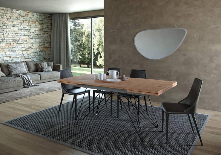 Tavolo CROSS allungabile scortecciato, sedia CARAMEL di Nespoli 3d Moderno