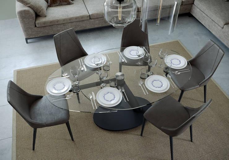 Tavolo ONE cristallo, sedia VICTORIA di Nespoli 3d Moderno