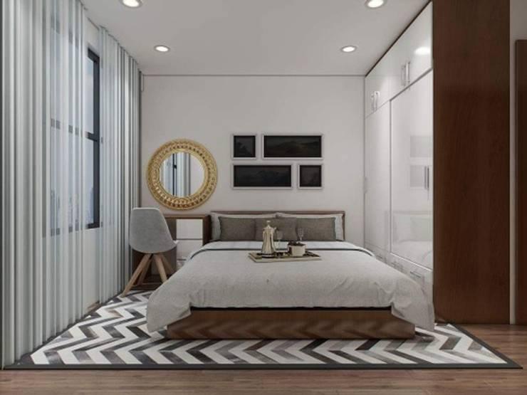 Phòng ngủ với thiết kế cá tính, độc đáo.:  Nhà gia đình by Công ty TNHH Thiết Kế Xây Dựng Song Phát