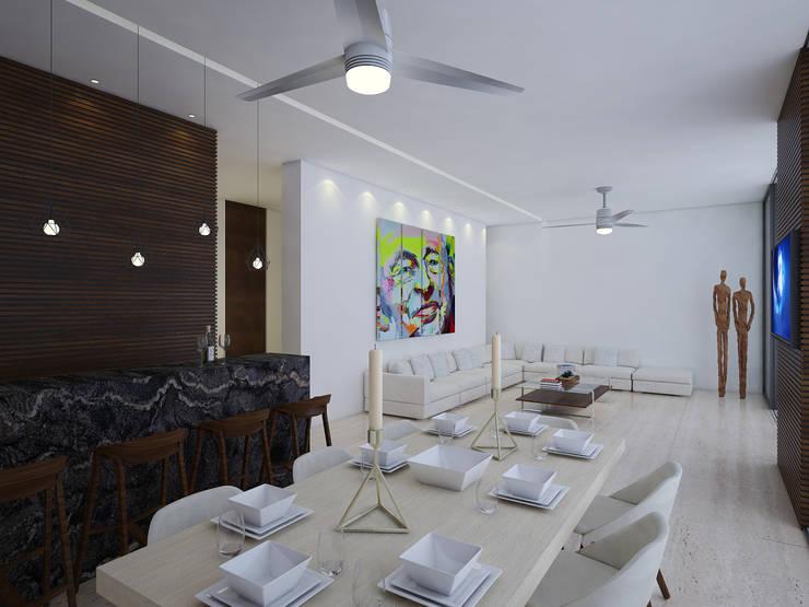 comedor:  de estilo  por Daniel Cota Arquitectura | Despacho de arquitectos | Cancún