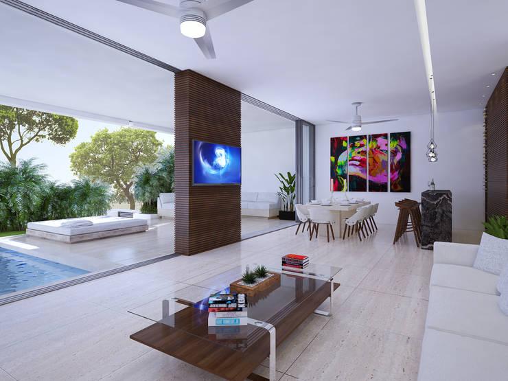 sala:  de estilo  por Daniel Cota Arquitectura | Despacho de arquitectos | Cancún