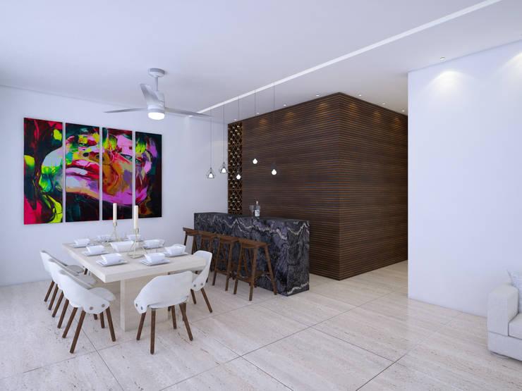 comedor - bar:  de estilo  por Daniel Cota Arquitectura | Despacho de arquitectos | Cancún