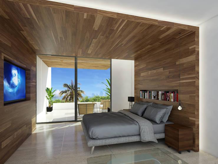 recámara principal:  de estilo  por Daniel Cota Arquitectura | Despacho de arquitectos | Cancún