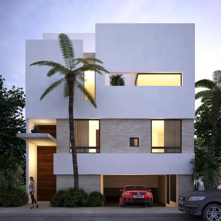 fachada principal:  de estilo  por Daniel Cota Arquitectura | Despacho de arquitectos | Cancún