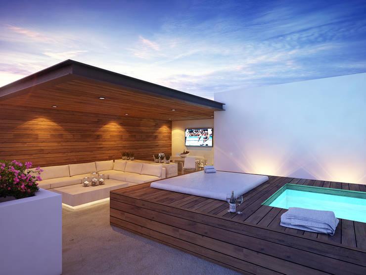 roof garden:  de estilo  por Daniel Cota Arquitectura | Despacho de arquitectos | Cancún