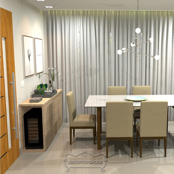 Dining room by Decoropravocê - Decoração ao seu alcance., Mediterranean