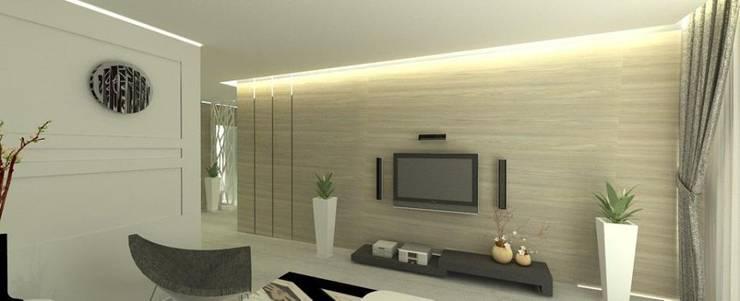 簡約的木紋電視牆:   by 圓方空間設計