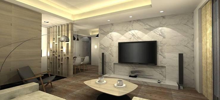 低調奢華的大理石電視牆:   by 圓方空間設計
