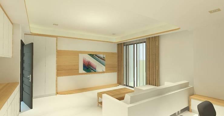 日式無印風格木質電視牆:   by 圓方空間設計