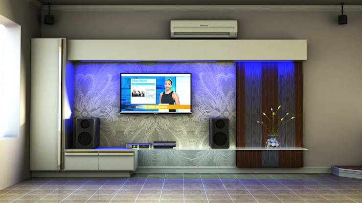 Contemporary TV unit:  Living room by Kori Interiors