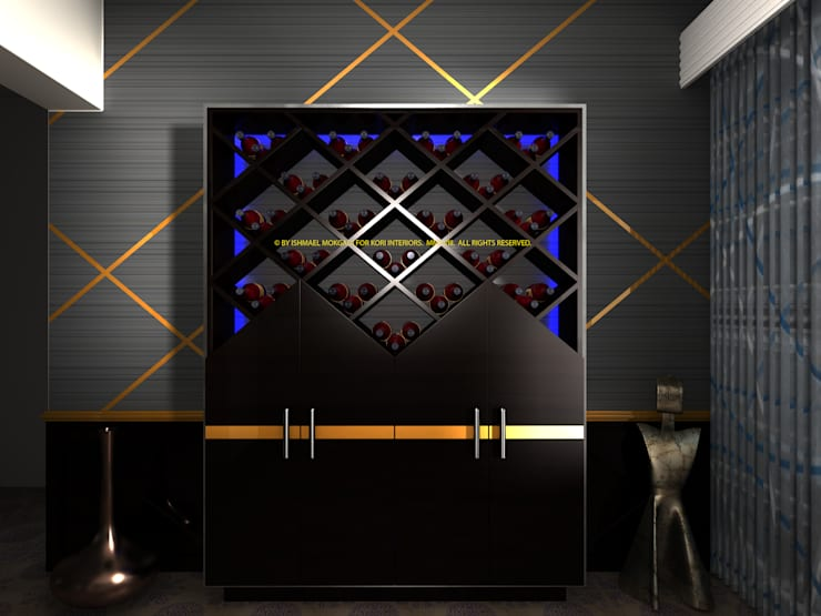 Wine cellar with LED lighting: modern  by Kori Interiors, Modern