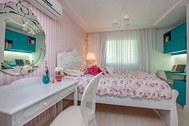Apto. Cond. Parque das Ilhas - Projeto em Fortaleza: Quartos das meninas  por RI Arquitetura