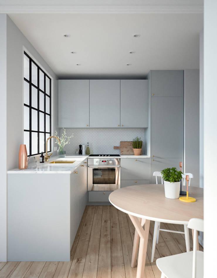 Mấu thiết kế bếp chữ L đẹp phù hợp với không gian sống hiện đại:  Bếp xây sẵn by Công ty TNHH Thiết Kế Xây Dựng Song Phát
