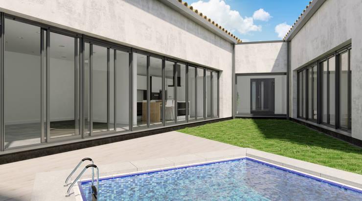 Vivienda entre medianerías en Santa Cruz de Mudela (Ciudad Real): Jardines de estilo  de A3D INFOGRAFIA