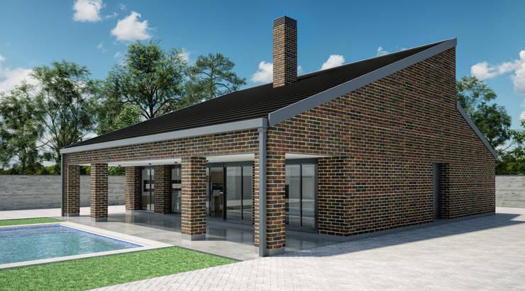 Exterior vivienda _ vista 2: Casas unifamilares de estilo  de A3D INFOGRAFIA