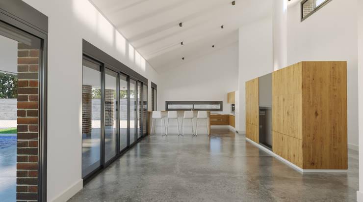 Salón y cocina: Salones de estilo  de A3D INFOGRAFIA