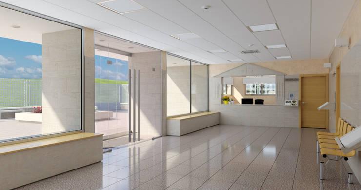 Hall _ vista 1: Pasillos y vestíbulos de estilo  de A3D INFOGRAFIA