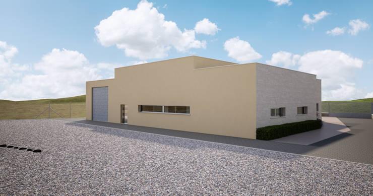 Fachada trasera _ vista 1: Casas multifamiliares de estilo  de A3D INFOGRAFIA