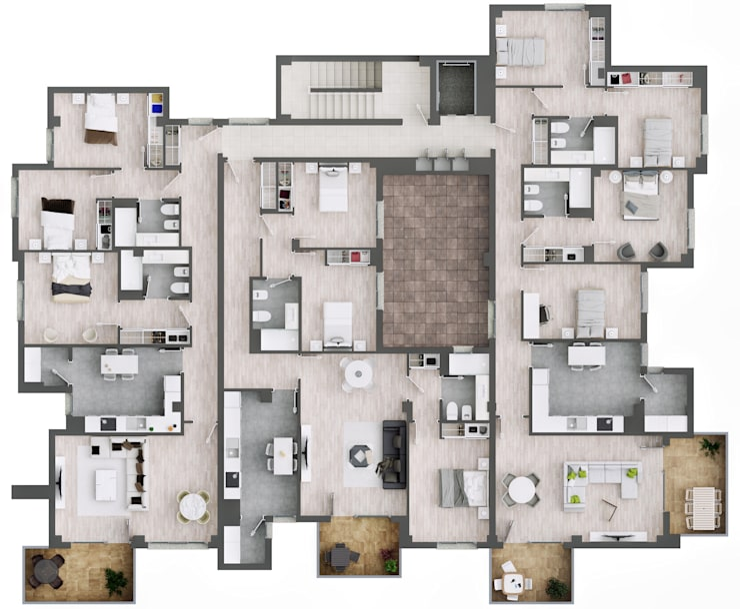 Plano planta 2ª:  de estilo  de A3D INFOGRAFIA