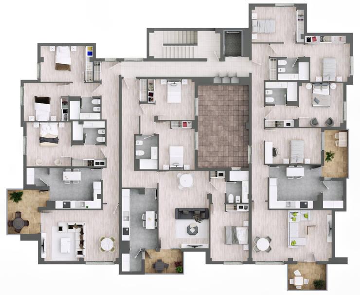 Plano planta 3ª:  de estilo  de A3D INFOGRAFIA