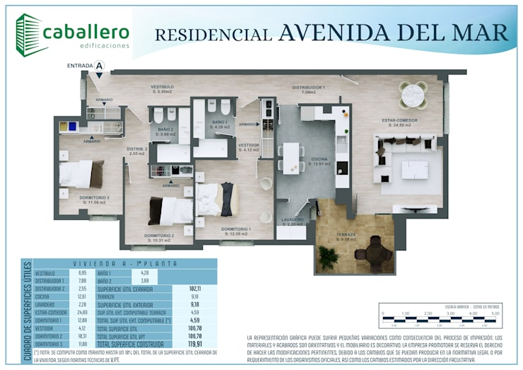 Plano vivienda tipo A:  de estilo  de A3D INFOGRAFIA