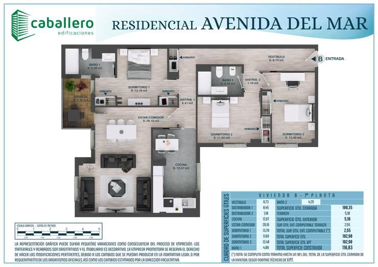 Plano vivienda tipo B:  de estilo  de A3D INFOGRAFIA