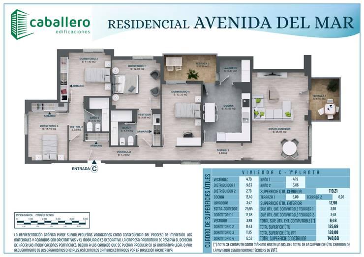 Plano vivienda tipo C:  de estilo  de A3D INFOGRAFIA