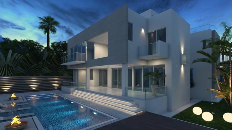Fachada Posterior 1 - Pileta: Casas unifamiliares de estilo  por Arqed,