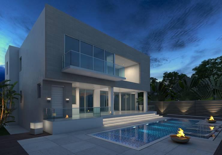 Fachada Posterior 2 - Pileta: Casas unifamiliares de estilo  por Arqed,