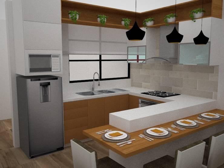 Cocina Integrada: Cocinas equipadas de estilo  por SindiyFiorella