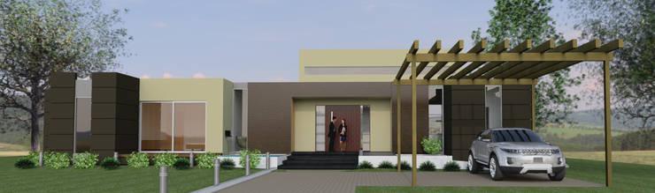 Fachada Principal. : Casas de estilo  por IAA LTDA, Minimalista
