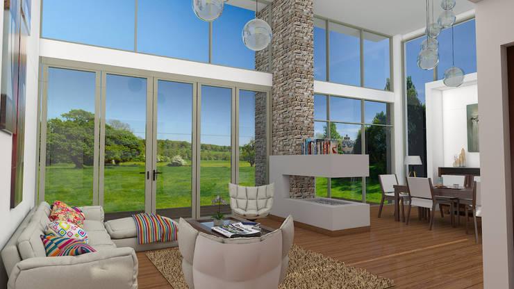 Vivienda Campestre Interior: Salas de estilo  por IAA LTDA, Minimalista