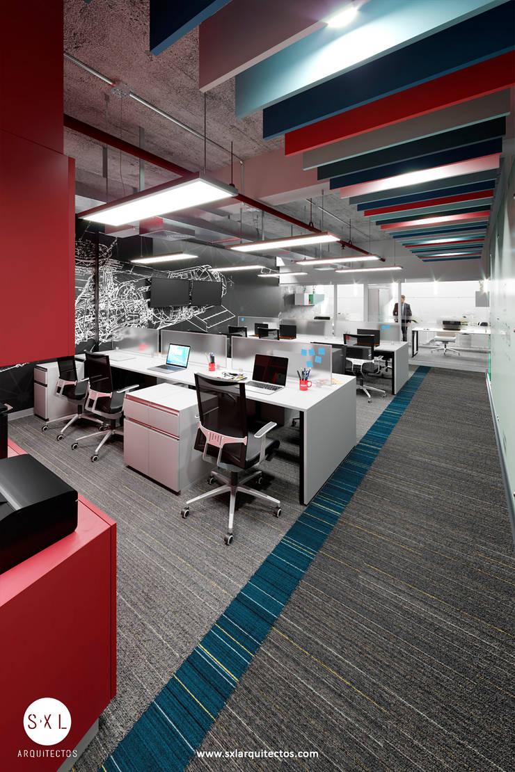 Área de trabajo de SXL ARQUITECTOS Moderno Vidrio
