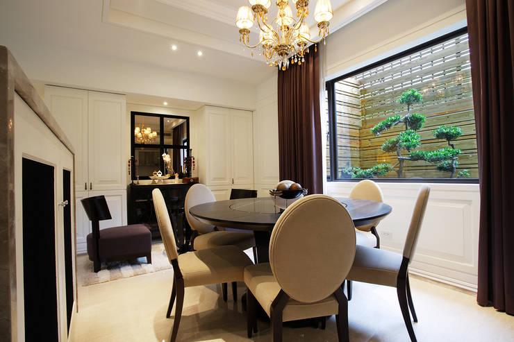美式居家風格住宅:  餐廳 by G.T. DESIGN 大楨室內裝修有限公司
