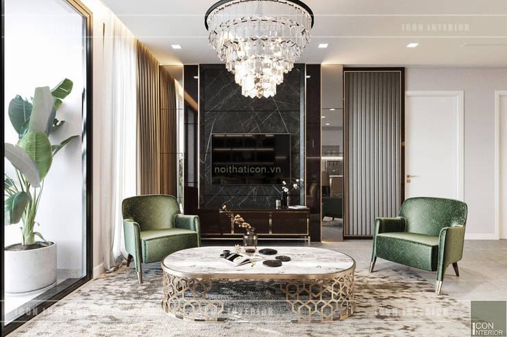 THIẾT KẾ CĂN HỘ VINHOMES GOLDEN RIVER - Cảm hứng Xanh Olive:  Phòng khách by ICON INTERIOR