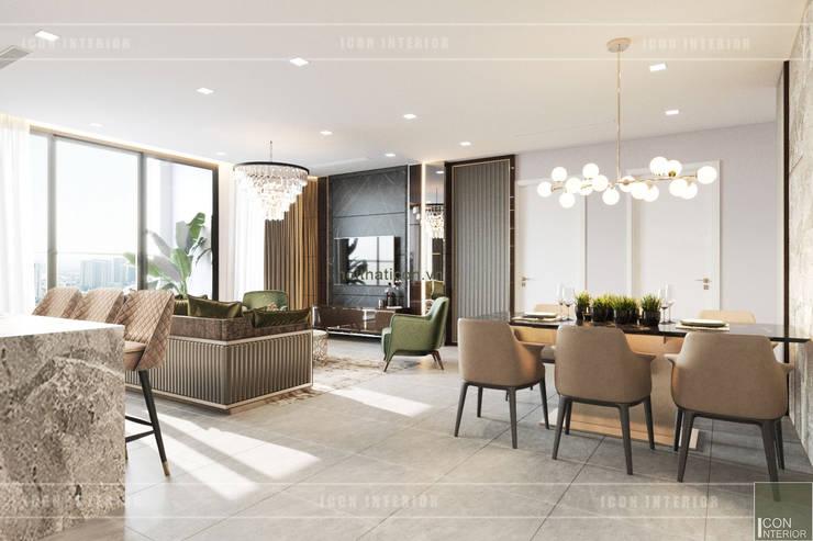 THIẾT KẾ CĂN HỘ VINHOMES GOLDEN RIVER – Cảm hứng Xanh Olive:  Phòng khách by ICON INTERIOR