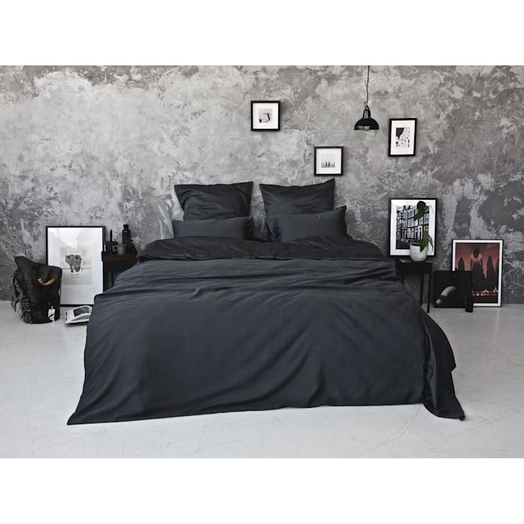 Sateen Duvet Set - Dark Grey:  Bedroom by Bedroommood