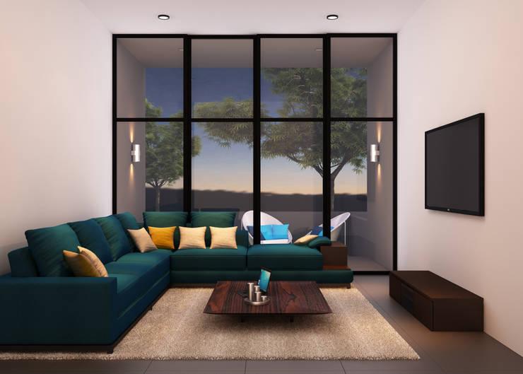 A duplex Villa:  Living room by  Ashleys,Minimalist