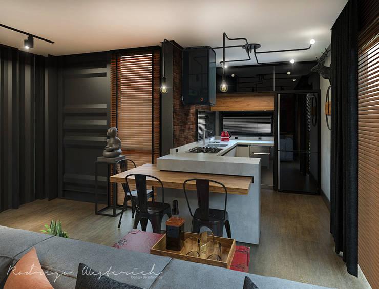 Projeto de interiores - Residencial Modular Contêiner: Armários e bancadas de cozinha  por Rodrigo Westerich - Design de Interiores