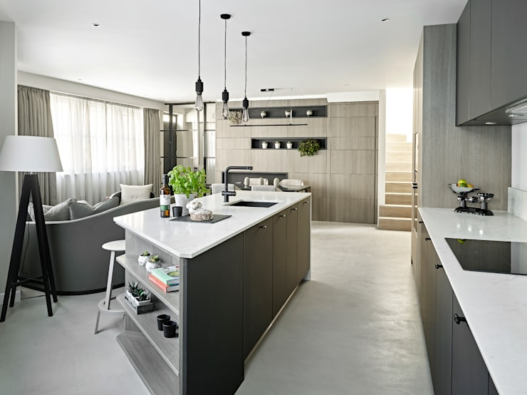 Kitchen, Living Room and dining area Industrial style kitchen by Tailored Living Interiors Industrial Wood Wood effect