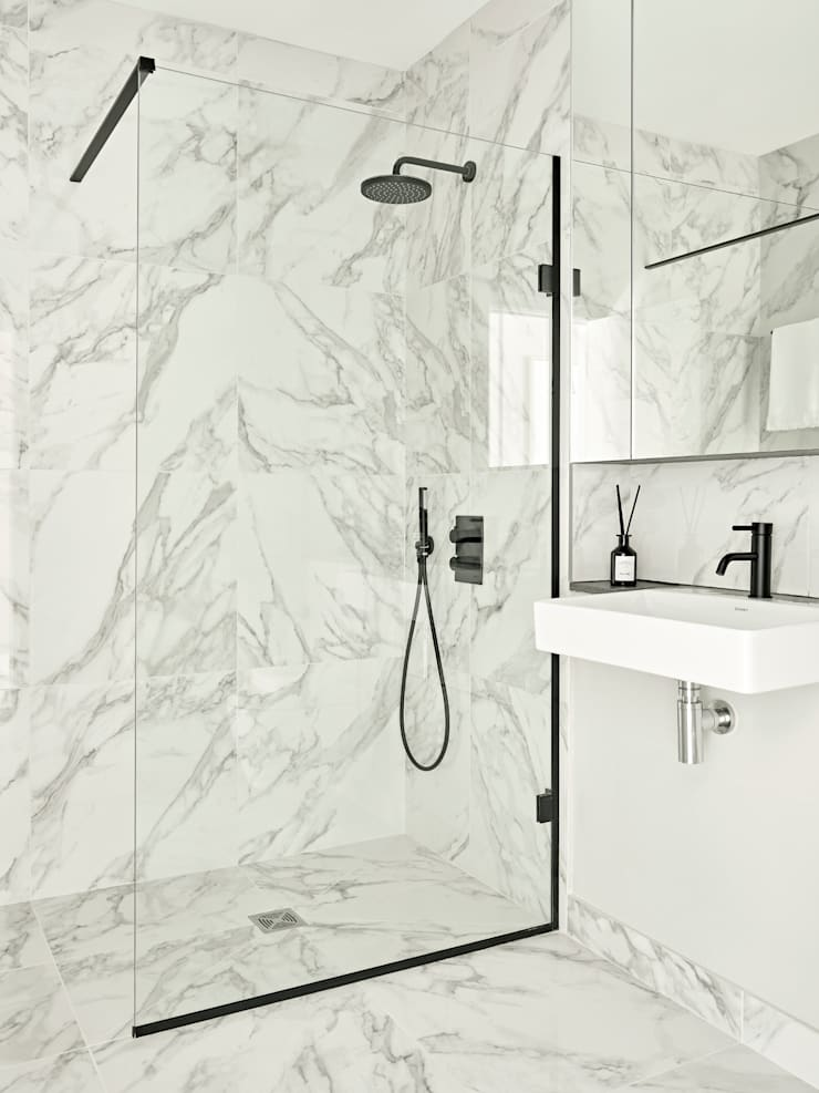 An urban chic mews in Fulham Industrial style bathroom by Tailored Living Interiors Industrial Tiles