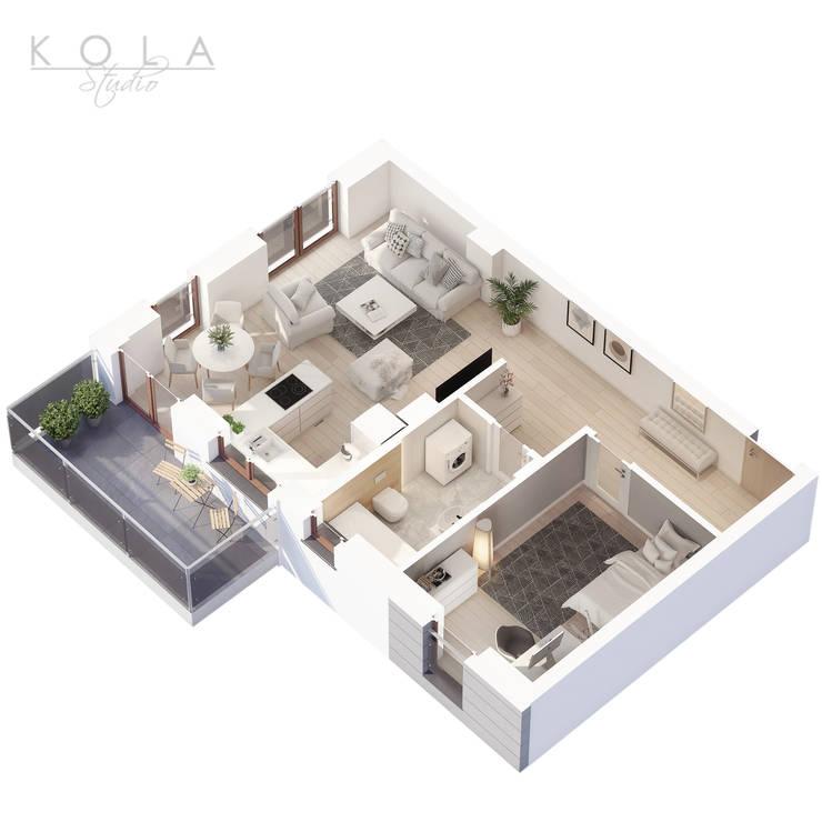 Apartment 3D layouts / Plany 3D mieszkań by Kola Studio