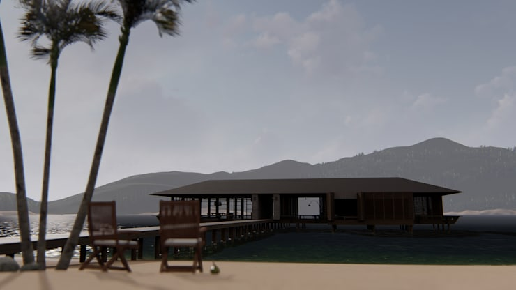 Exterior from beach:  Villa by alexander and philips